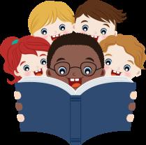 children reading a song book